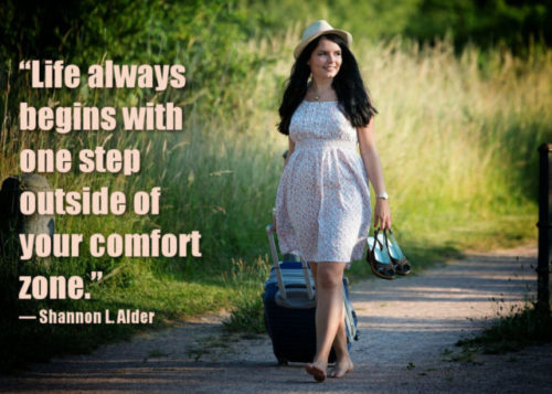 Woman walking out of comfort zone