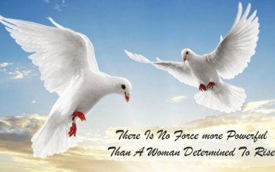 Work like a woman article. Image of two doves flying in the sky - there is no force more powerful than a woman determined to rise