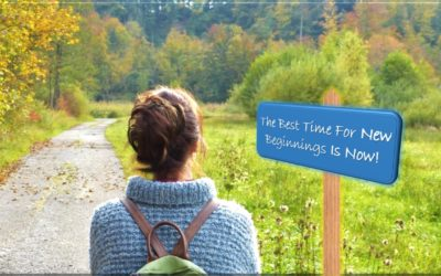 The Joy of new beginnings - Image of a girl in scenic green background looking at a sign board reading - The best time for new beginnings is now