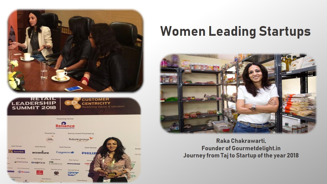 Images of Raka Chakrawarti, founder of Gourmetdelight in her store, in a round table conference, With an Award in hand for first runnerup Retail Startup of the year 2018.
