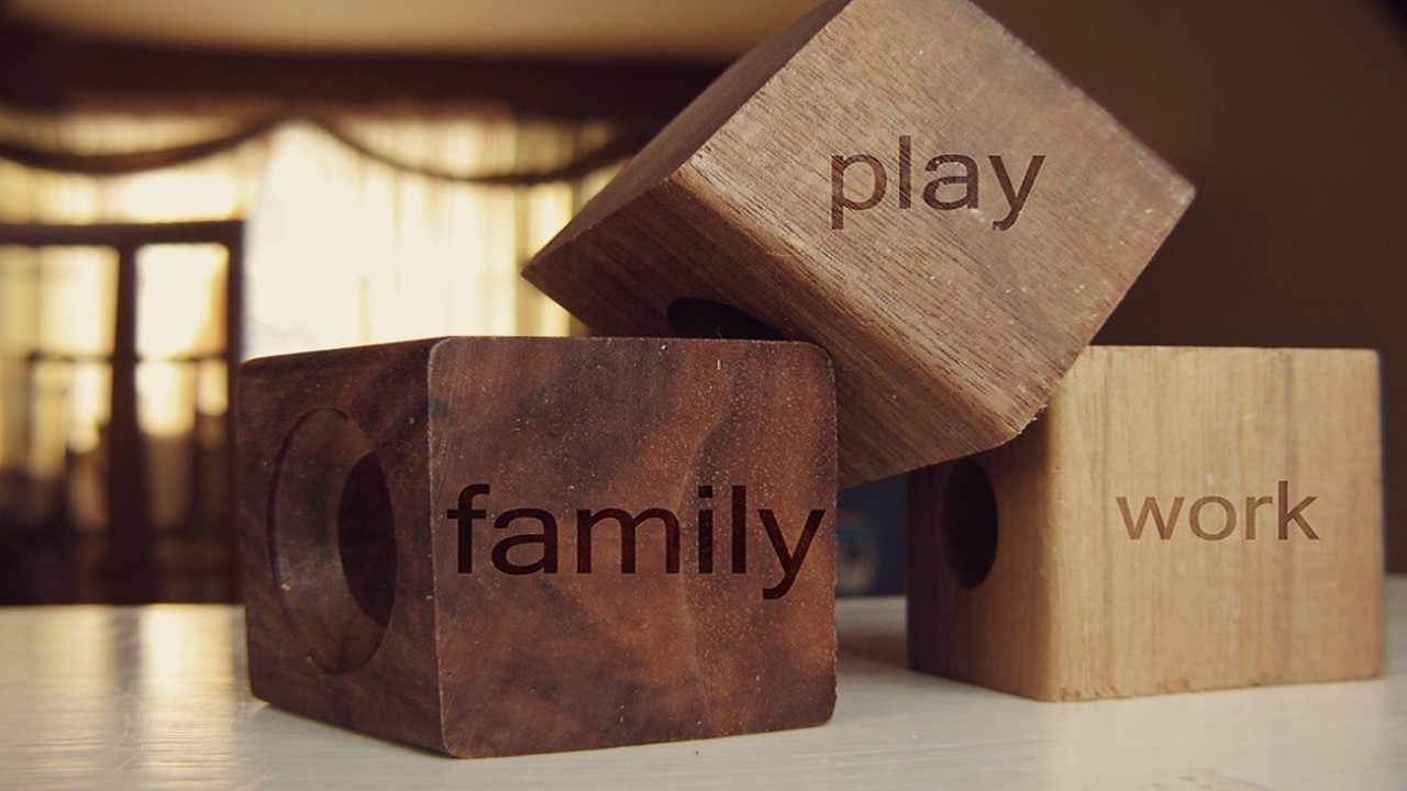 Work-Life integration - image of 3 blocks reading family, play, work