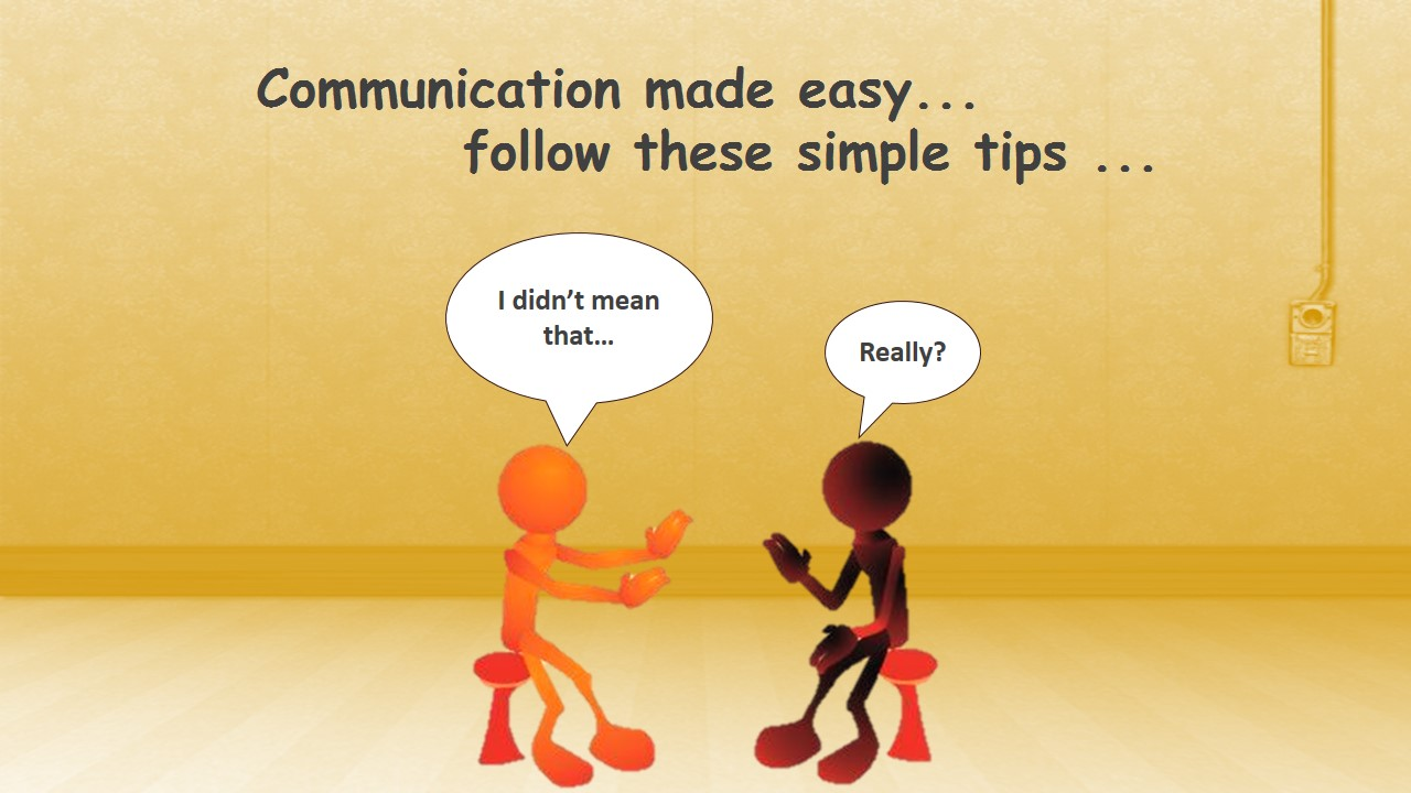 Communication made easy... image of two people sitting and having an argument.