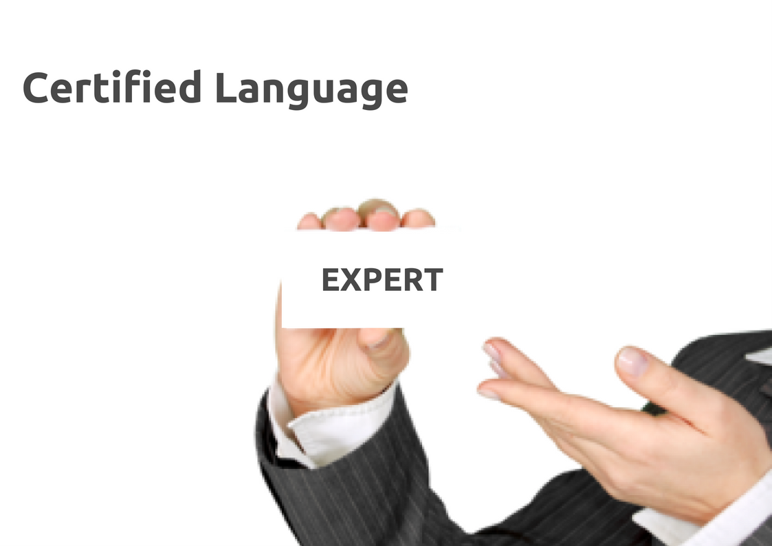 Certified language expert - image of a professional women holding a card reading EXPERT